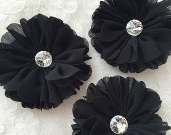 Black Chiffon Flowers With Rhinestone 2.55 Inches Wide For Costume Headware Corsage Supplies 2pcs