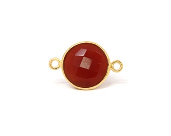 18Kt Gold Plated Sterling Silver 8mm faceted Carnelian Chalcedony Connectors - 1pc Good Quality Wholesale price (6171)/1