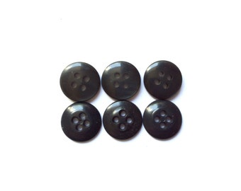 6 Black Vintage Plastic Buttons
