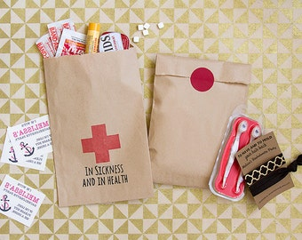 """Bachelorette Recovery Kit - Paper Hangover Kit Bags - """"In Sickness and in Health"""" Favors - Hangover Kit Bags - Hen Party Favors - Bachelor"""