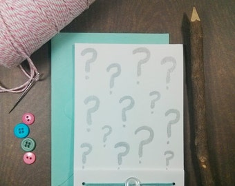 Hand Painted Card - Made To Order -Choose Your Colors- Typography -Question Mark -Blank Card- Baby Gender Reveal- Will You Be My -Proposal