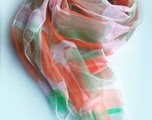 Hand painted silk scarf,chiffon,summer scarf,salmon,ice green,summer wrap,abstract