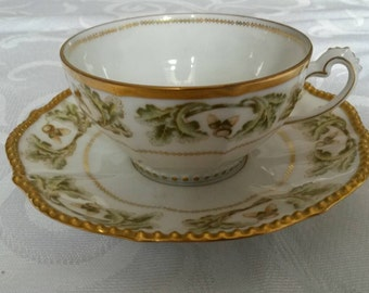 Limoges Tea Cup and Saucer by Bawo & Dotter (Elite works) circa around 1900-  DR