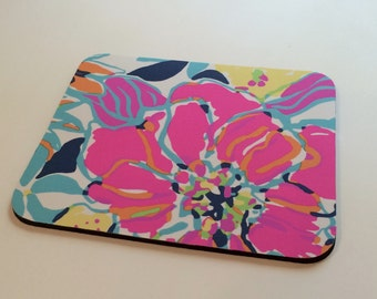 Fabric Mouse Pad made with Lilly Pulitzer Fabric  Besame Mucho