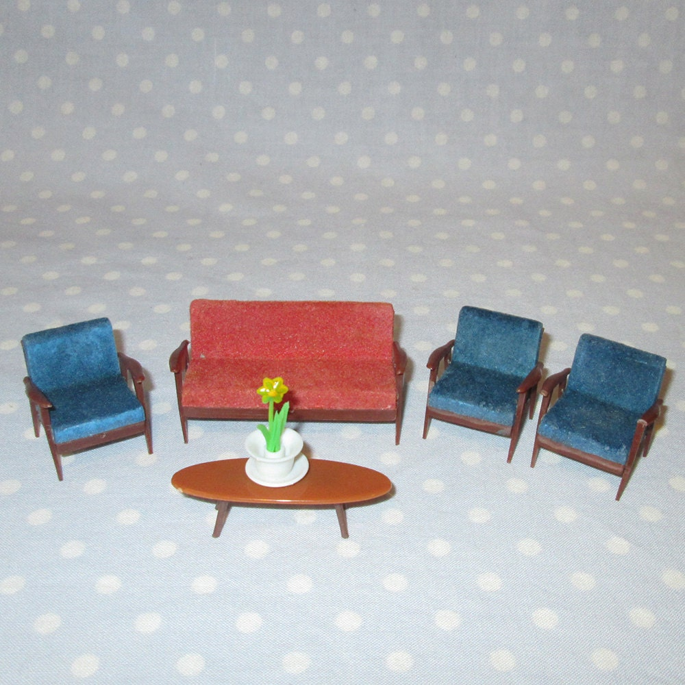 5 Pcs Vintage Doll House Furniture Miniature Plastic Living