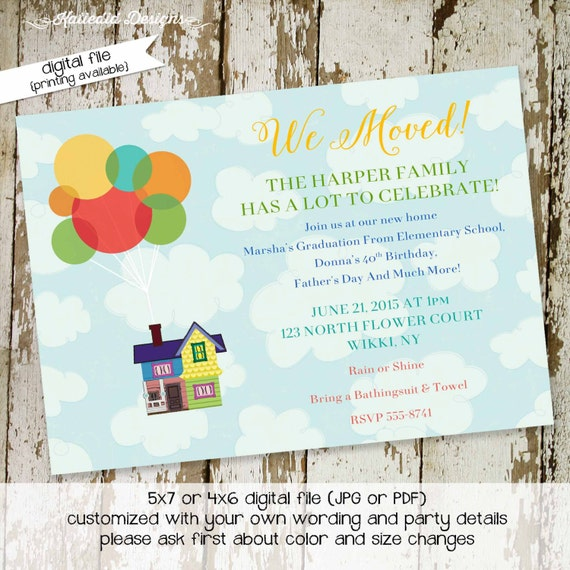 Moving Announcement housewarming UP clouds balloons moved new graduation sweet bash house we've moved postcard announcement bash (item 712)