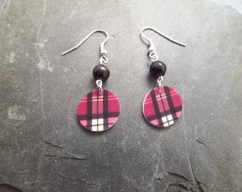 Highland Dance Jewelry, Scottish Tartan Earrings, Scottish Jewelry, Plastic Earrings, Pink Earrings, Clan Jewelry