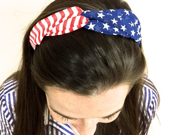 FREE SHIP USA Soft Patriotic Flag Red White Blue Elastic Headband Infinity