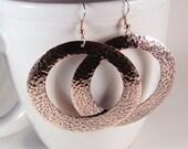 Large Copper Hoops SHIPS IMMEDIATELY Handmade Copper Hoops Hammered Copper Earrings Gypsy Hoop Earrings Boho Earrings Birthday Gift