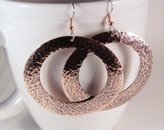 Large Copper Hoops SHIPS IMMEDIATELY Handmade Copper Hoops Hammered Copper Earrings Gypsy Hoop Earrings Boho Earrings Birthday Gift