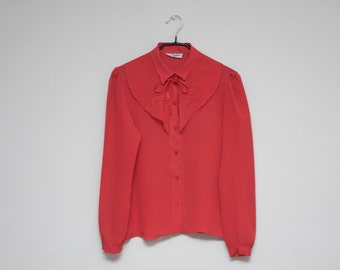 70's shirt: detachable collar blouse, bright red, semi sheer, rose embroidered scalloped collar, western, rockabilly style.
