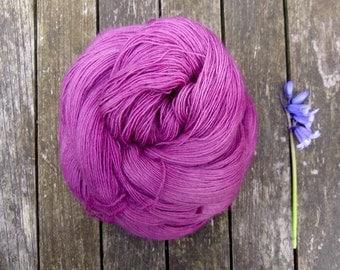Pink Lace Yarn, Hand Dyed Singles Laceweight Yarn, Falkland Merino yarn, British wool, 100g