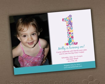 Under the Sea Seahorse Birthday Invitation with Photo
