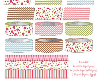 Summer Washi Tape Clipart Digital Paper Combo Chevron Strawberries Cherries Instant Download
