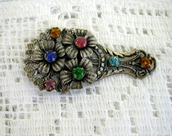 Vintage Silver Tone metal 1940s Rainbow Rhinestone Diamante Dress Clip Pierced Floral Design Multi Color Colour  Flowers