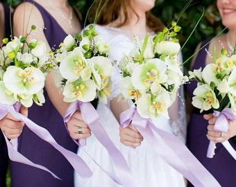 Green and creme orchid and rose silk flower bridal bouquet and boutonniere set