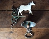 Vintage French White Horse Pony Dinner Alarm Bell Knocker Ringing Outside Garden circa 1950's / English Shop