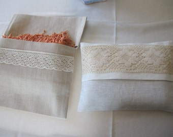 Custom Bridesmaid gifts clutch-pashmina-shawl -scarf/bag-rustic country themed wedding gifts ideas-linen lace favor bag gifts for her