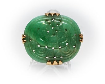 Antique Chinese 10K Gold Carved Jade Brooch