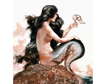 Mermaid Greeting Card - Shoe from Shipwreck - Repro Herouard La Vie Parisienne