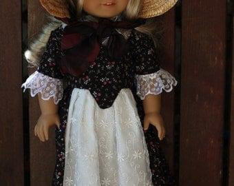 Caroline's summer dress and sun bonnet for 18 in American girl dolls
