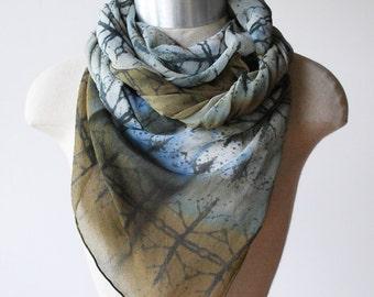 moss green scarf, silk chiffon scarf, woodland scarves