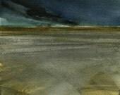 Original watercolor storm landscape painting - For now
