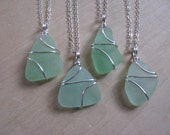 Custom for Sarah 3 Sea Glass  Necklaces Sea Foam Green Beach Glass Aqua Wedding Jewelry