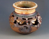 Pottery Vase With Colored Green Tiles, Flowers, Dragonflies, Soft Brown Glaze, Hand Carved, Ready To Ship