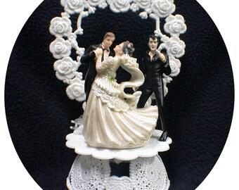 ELVIS LasVegas Romantic Serenade Wedding Cake Topper bride groom top Sexy The King Heart Fuuny