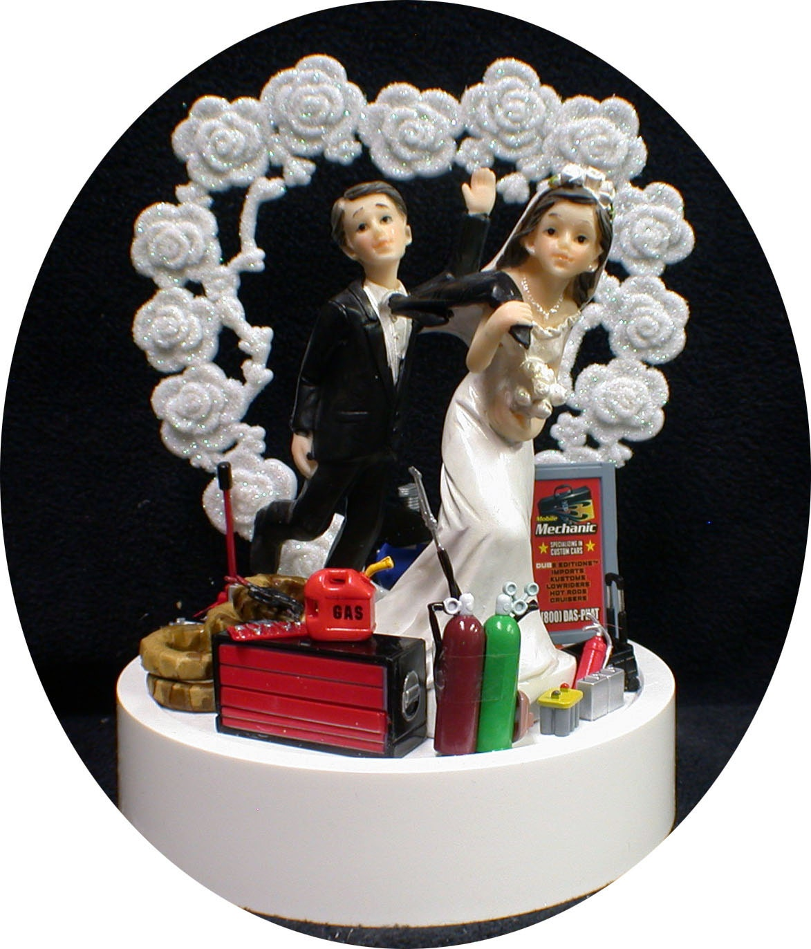 Heart Car AUTO MECHANIC Wedding Cake Topper Bride Groom top