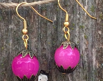 Gorgeous hot pink glass bubble gum earrings