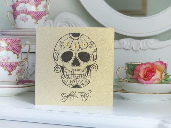 Sugar Skull and Daisy 18th Birthday Card
