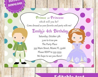 Prince and Princess Invitation - Green Purple Printable Kids Birthday Party Invites Editable File INSTANT DOWNLOAD