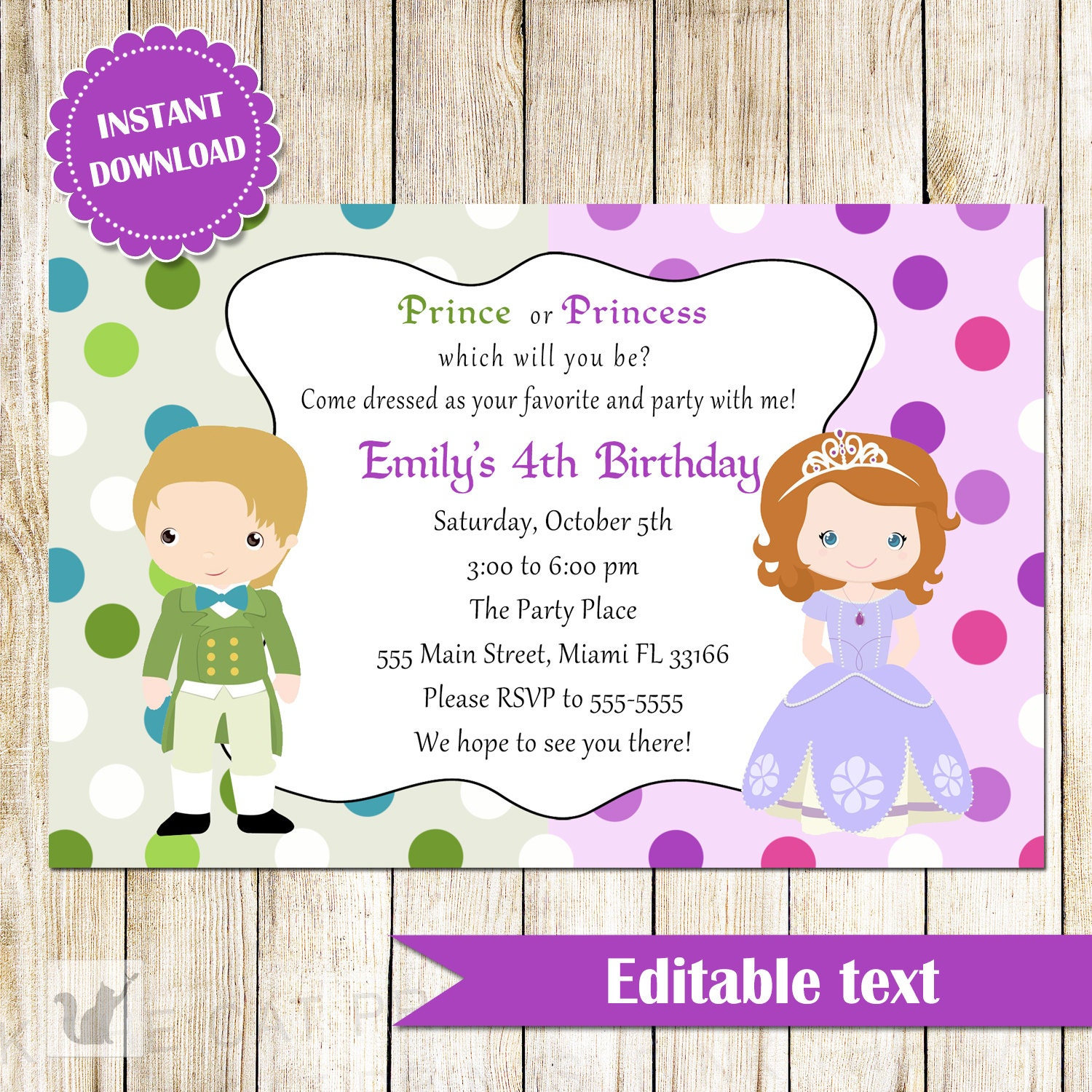 Prince and Princess Invitation Green Purple Printable Kids – Invite a Princess to Your Party
