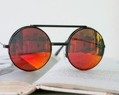 Vintage FLIP UP Sunglasses...uv lens. retro. mirrored. rad. hipster. urban. rock n roll. party. mod. indie. red lens. lennon. deadstock