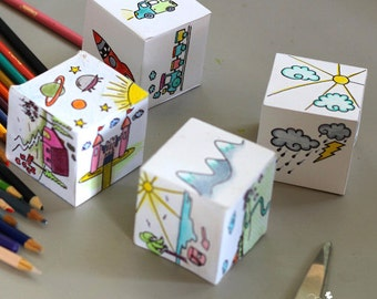 PRINTABLE STORY CUBES, story dice, creative paper play - Children activity - Cubes to print out, colour in and create stories