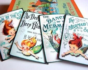 Mermaid Note Card Set - Mermaid Songs Sheet Music Dance Of The Mermaids Down By The Sea Retro Little Girl Mermaids - 4 Sm Greeting Cards