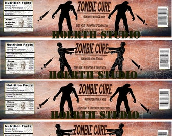 Halloween printable Zombie Cure antidote for the Apocalypse water bottle labels DIY