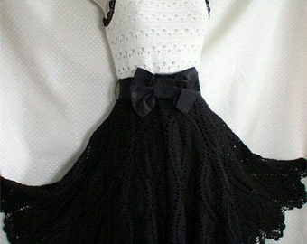 Crocheted Black & White Formal Dress - MADE TO ORDER