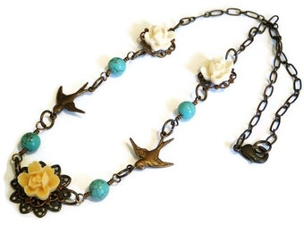 Flying Bird & Flower Necklace, in Patina, Vintage Style, Flying Birds, Turquoise Beads, Peaches and Cream Resin Flowers