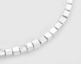 "60 of Karen Hill Tribe Silver Cube Beads 2.2 mm.5.5 "" :ka3319"
