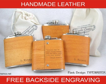 Set of 6 Groomsman Gift for the Wedding Party Leather Flask Personalized Wedding Flask with FREE Backside Engraving!