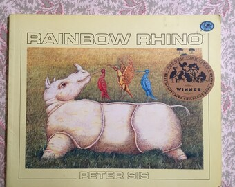 Vintage Children's  Book Rainbow Rhino by Peter Sis Colorful Illustrations