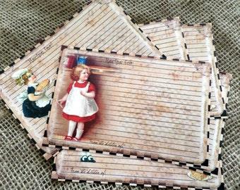 "6 Vintage Style 6""x4"" Blank Recipe Card"
