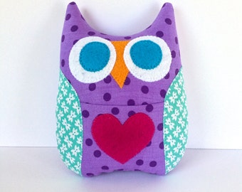Personalized Owl Tooth Fairy Pillow - Purple with Aqua Print Wings