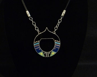 MODERN necklace repurposed metal buckle chain with leather red blue black