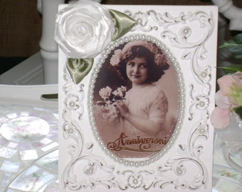 Embellished Shabby Chic Picture Frame with a Handmade Ribbon Rose and White Pearls