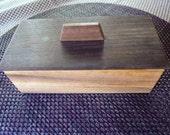 Handcrafted Monkey Pod and Peruvian Walnut Lift Lid Jewelry/ Keepsake Box