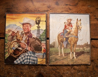 Pair of Vintage Roy Rogers Jigsaw Puzzles - Great Kids Room Decor!